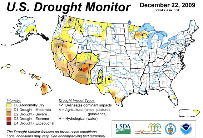 US Drought Monitor December 22, 2009.
