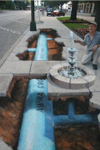 Water infrastructure as sidewalk art