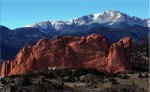 Pikes Peak with Garden of the Gods in the foreground