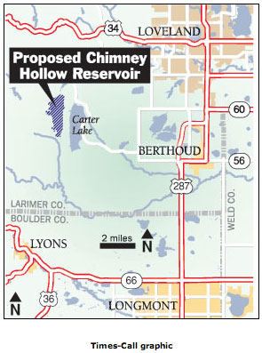 Site of proposed Chimney Hollow Reservoir -- Windy Gap Firming Project via the Longmont Times-Call