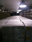 Antarctic ice core waiting to be shelved at the National Ice Core Lab March 2010