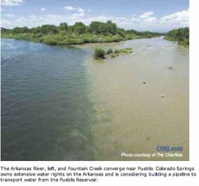 The confluence of Fountain Creek and the Arkansas River in Pueblo County -- photo via the Colorado Springs Business Journal