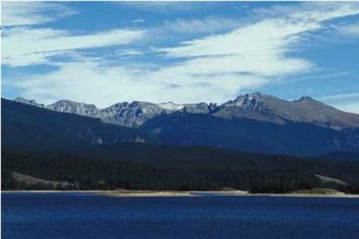 Granby Reservoir Indian Peaks in background