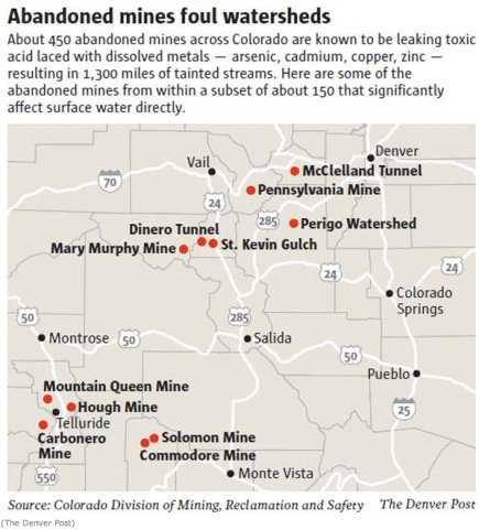 Abandoned Colorado mines that significantly affect surface water directly via The Denver Post