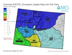 Statewide snowpack map May 2, 2011 via the NRCS
