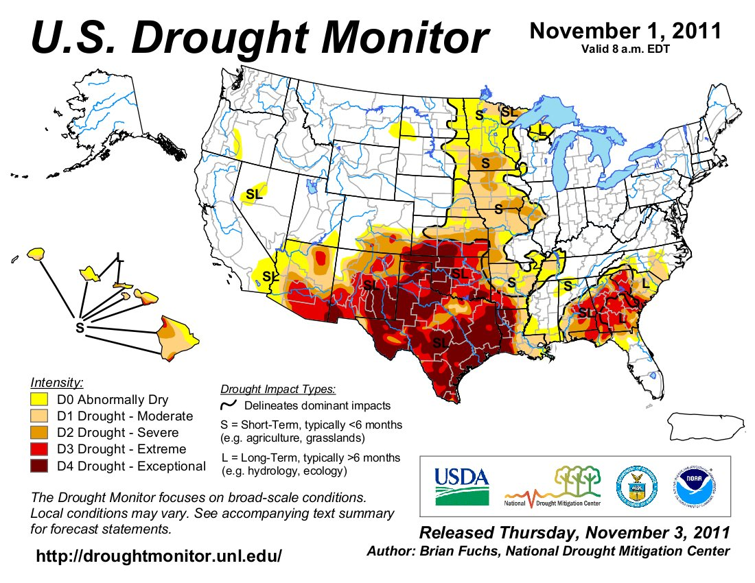 Latest Map From The US Drought Monitor Shows Continued - Us drought map latest