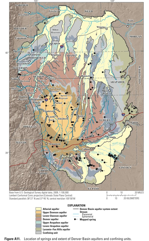 Denver Basin Aquifers confining unit sands and springs via the USGS. Page for report where graphic was taken: http://pubs.usgs.gov/pp/1770/