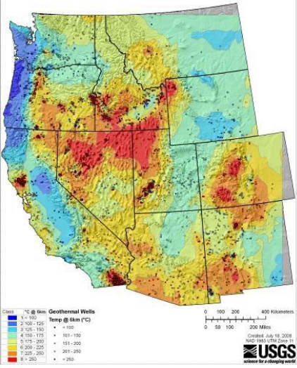 Map of Western US geotthermal areas via the USGS