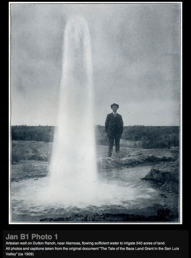 Artesian well Dutton Ranch, Alamosa 1909 via the Crestone Eagle