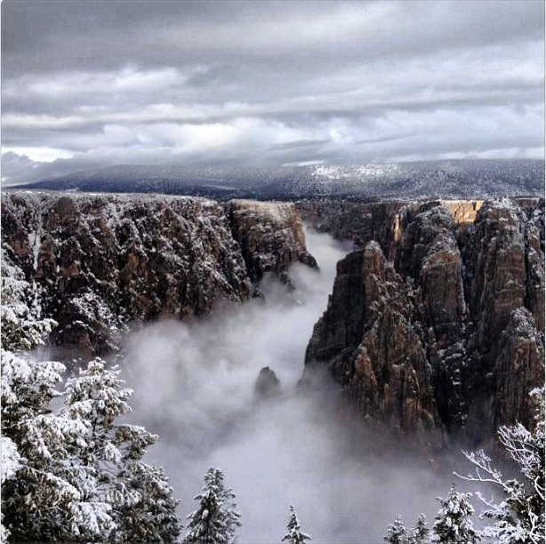 Fog-filled Black Canyon via the National Park Service