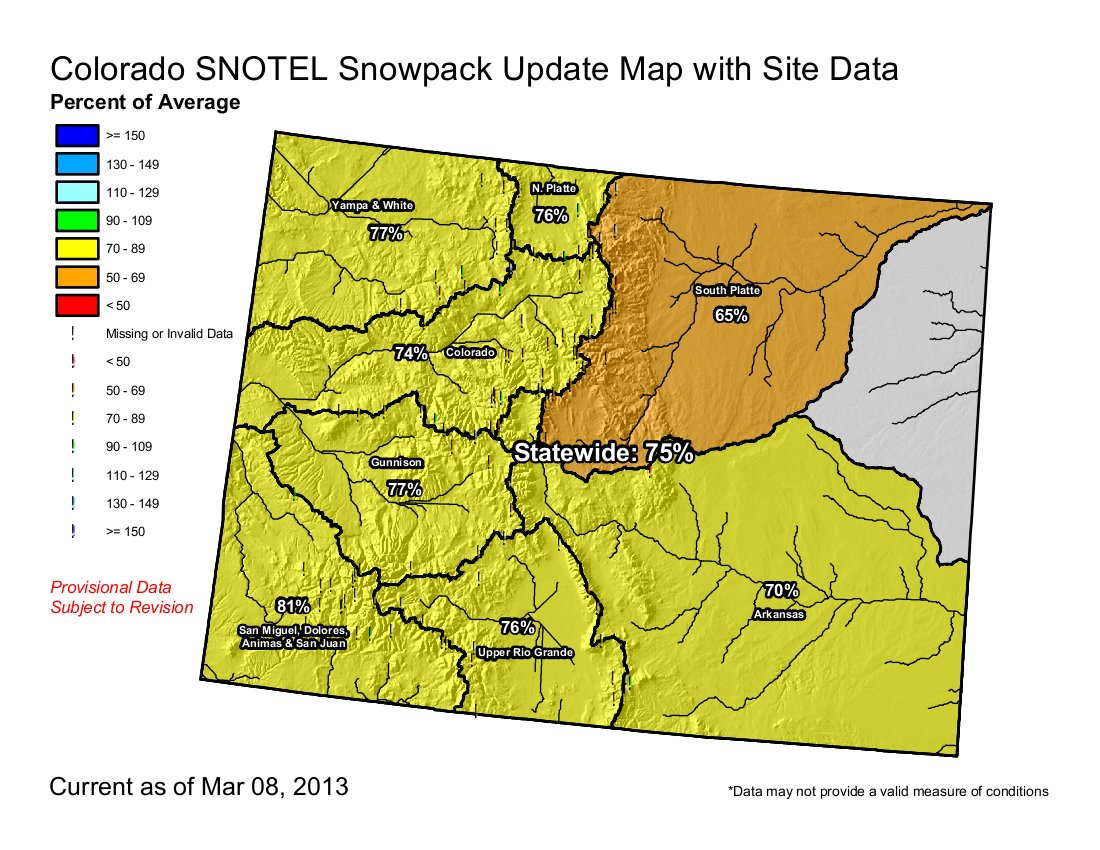 Taylor Park Colorado Map.Snowpack News Gunnison Basin 73 Of Normal Taylor Park Reservoir