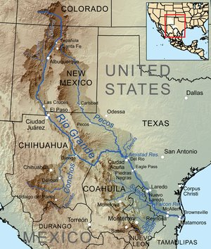 Rio Grande and Pecos River basins. Map credit: By Kmusser - Own work, Elevation data from SRTM, drainage basin from GTOPO [1], U.S. stream from the National Atlas [2], all other features from Vector Map., CC BY-SA 3.0, https://commons.wikimedia.org/w/index.php?curid=11218868