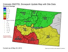 Statewide snowpack map May 3, 2013 via the NRCS