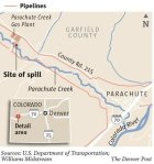 Location of spill on Parachute Creek 2013 -- Graphic/The Denver Post