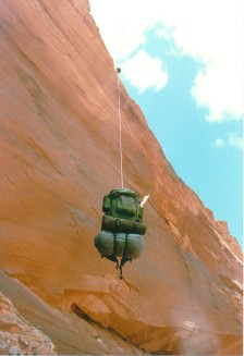 Lowering backpack at Crack-In-The-Wall