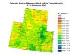 Upper Colorado River Basin   month to date precipitation September 22, 2013 -- Graphic Colorado Climate Center