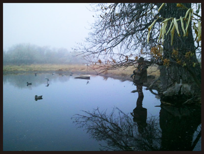 Hunter in fog at Prewitt Reservoir via Colorado Open Lands
