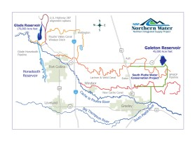 Map of the Northern Integrated Supply Project via Northern Water