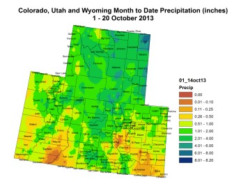 Upper Colorado River Basin month to date precipitation through October 20, 2013 via the Colorado Climate Center