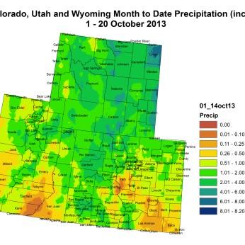 Upper Colorado River Basin month to date precipitation through October 20, 2013 via the Colorado Climate Center