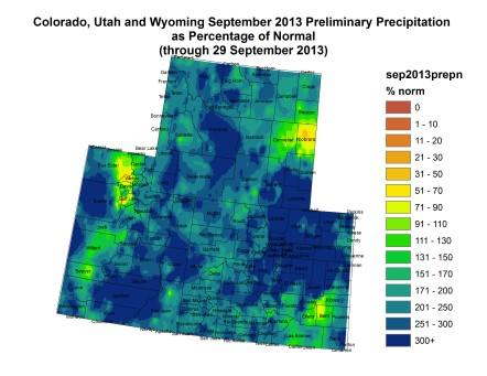 Upper Colorado River Basin September 2013 precipitation as percent of normal