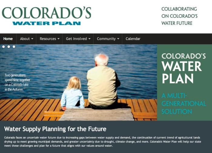 Colorado Water Plan website screen shot November 1, 2013