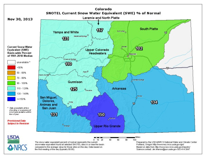 Colorado snow water equivalent as a percent of normal November 30, 2013