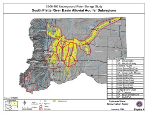 Map of the South Platte River alluvial aquifer subregions -- Colorado Water Conservation Board via the Colorado Water Institute