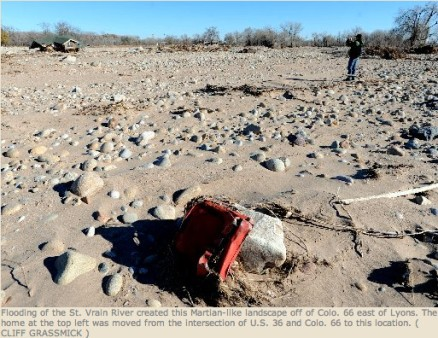 St. Vrain River floodplain November 2013 via the Longmont Times-Call