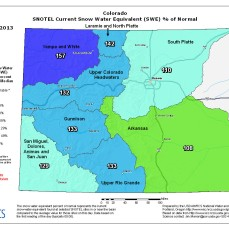 Snow water equivalent as a % of median November 22, 2013 via the NRCS