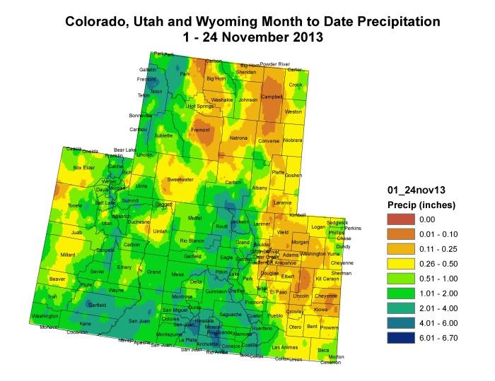 Upper Colorado River Basin month to date precipitation via the Colorado Climate Cenber