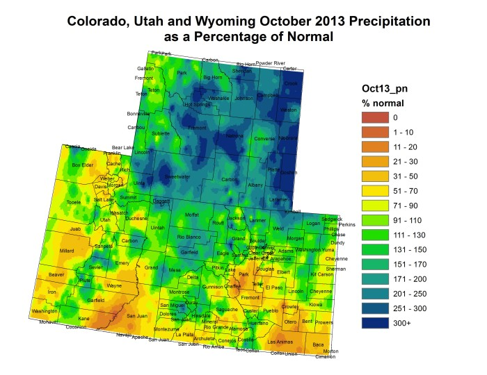 Upper Colorado River Basin October 2013 precipitation as a percent of average via the Colorado Climate Center