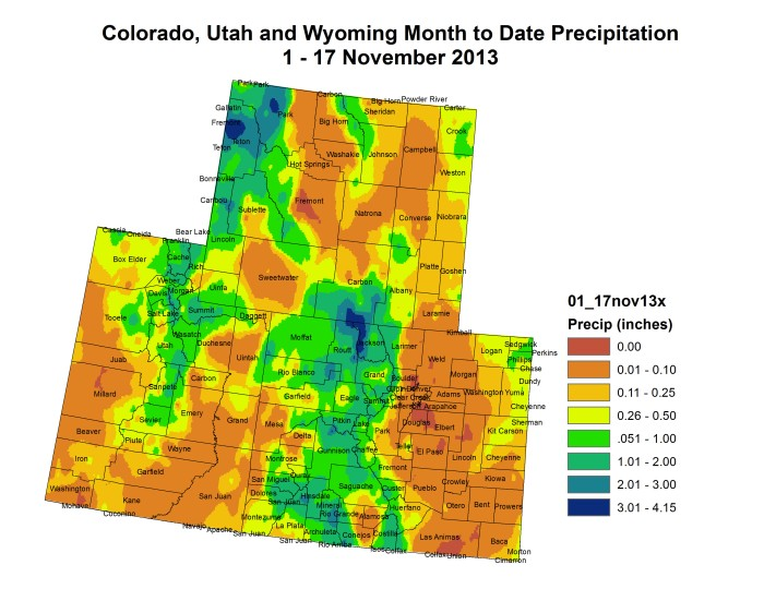 November 2013 month to date precipitation via the Colorado Climate Center