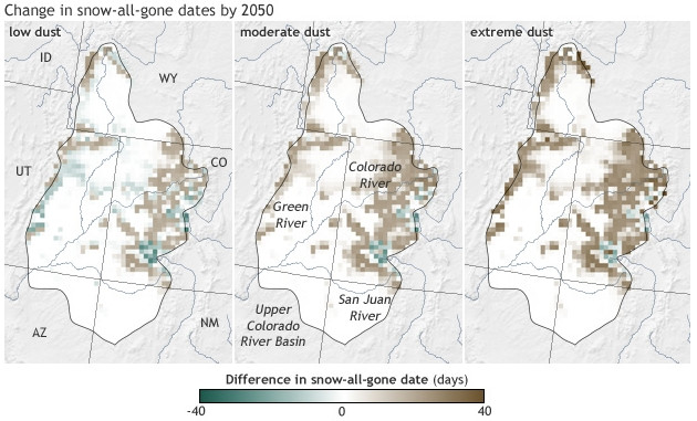 Change in snow-all-gone dates by 2050 via NOAA