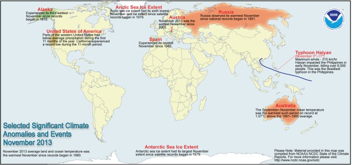 November 2013 Selected Climate Anomalies and Events Map via NOAA
