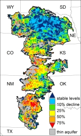 Significant portions of the Ogallala Aquifer, one of the largest bodies of water in the United States, are at risk of drying up if it continues to be drained at its current rate. Courtesy of MSU