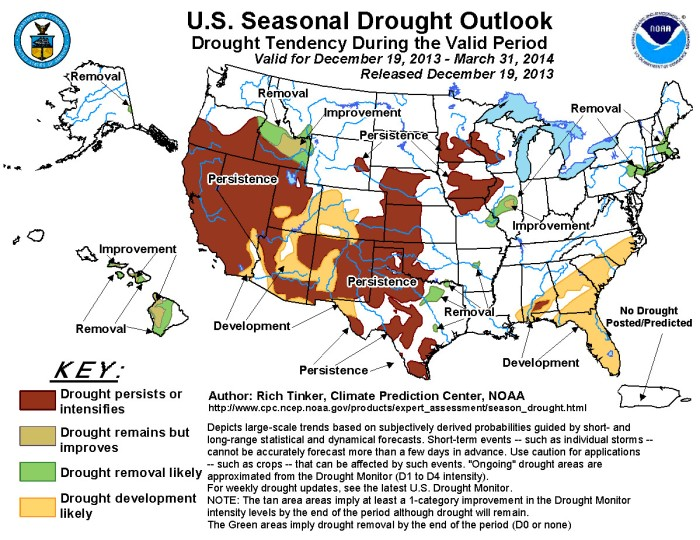 Seasonal drought outlook for December 19, 2013 to March 31, 2014 via the Climate Prediction Center