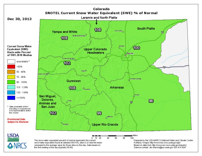Snow Water Equivalent as a percent of normal via the NRCS