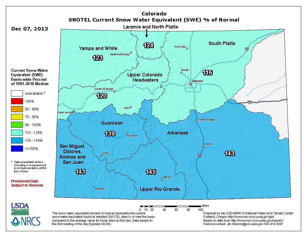 The latest climate briefing from the western water assessment is hot statewide swe as a percent of normal december 7 2013 freerunsca Image collections