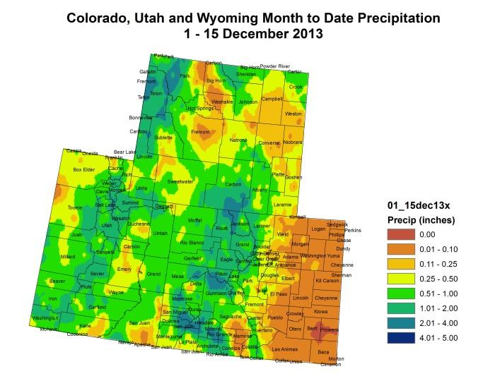 December 1-15 month to date precipitation Upper Colorado River Basin via Colorado Climate Center