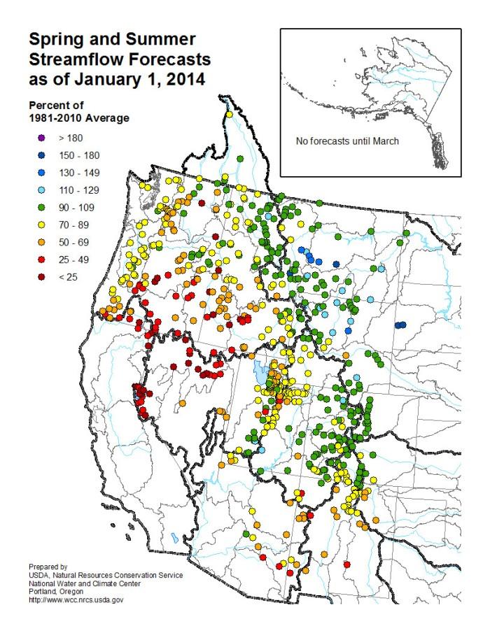 Streamflow forecasts January 1, 2014 via the NRCS