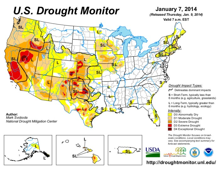 US Drought Monitor January 7, 2014