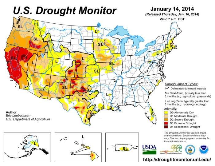 US Drought Monitor January 14, 2014