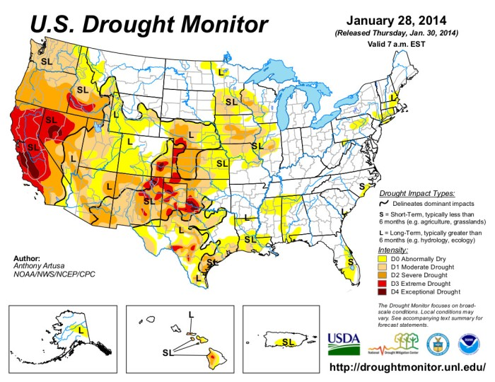 US Drought Monitor January 28, 2014