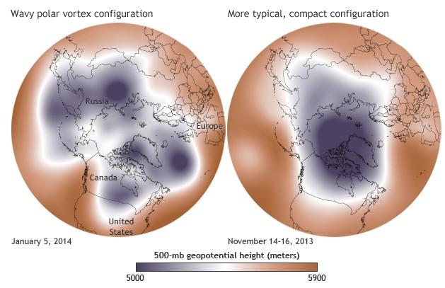 Wavy Polar Vortex January 5, 2014 via NOAA