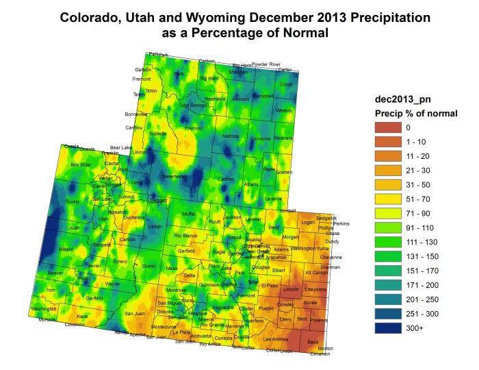 Upper Colorado River Basin precipitation as a percent of normal via the colorado Climate Center