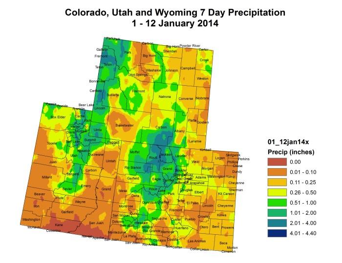 Upper Colorado River Basin precipitation month to date thru January 12, 2014 via the Colorado Climate Center