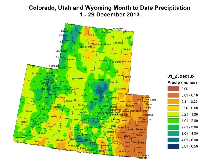Upper Colorado River Basin month to date precipitation through December 29, 2013 via the Colorado Climate Center