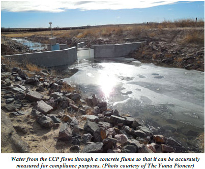 Colorado Compliance pipeline measuring flume via the Yuma Pioneer