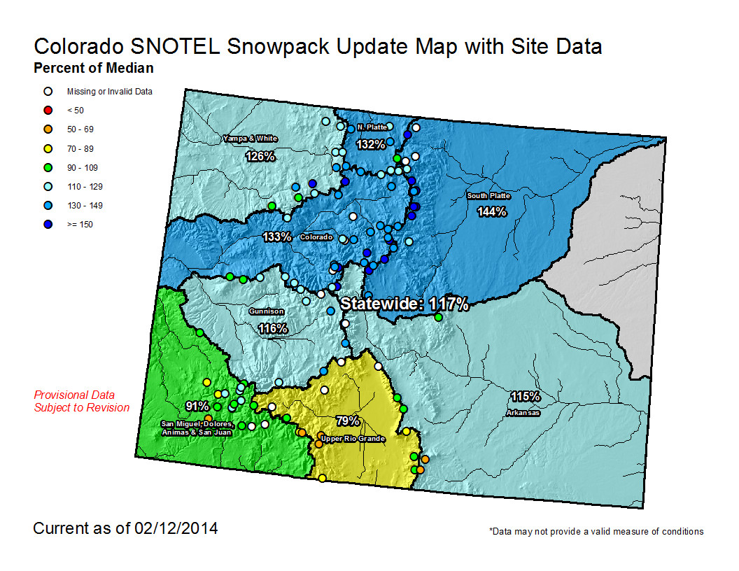 2014 Colorado Snowpack Map